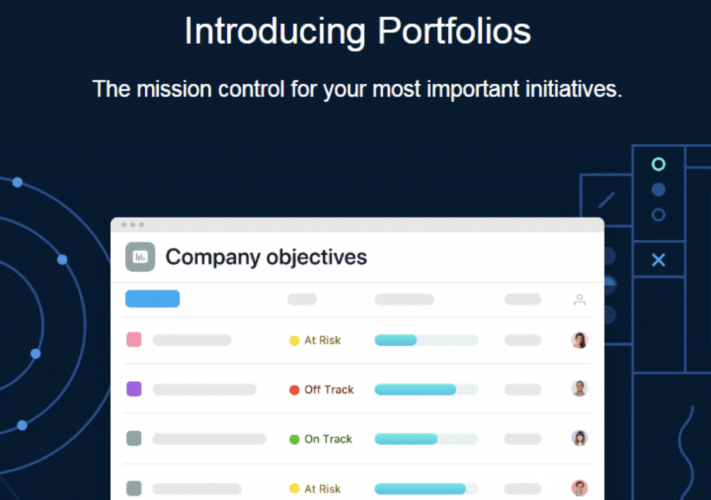 Asana campaign on producing portfolios