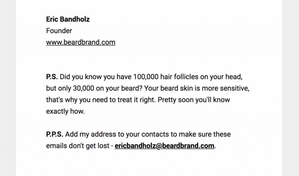 beardbrand ecommerce newsletter email
