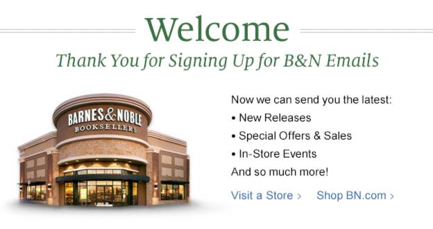 barnes and noble welcome email