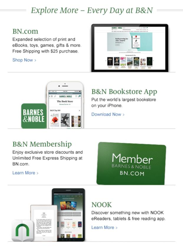 b&n ecommerce newsletter example