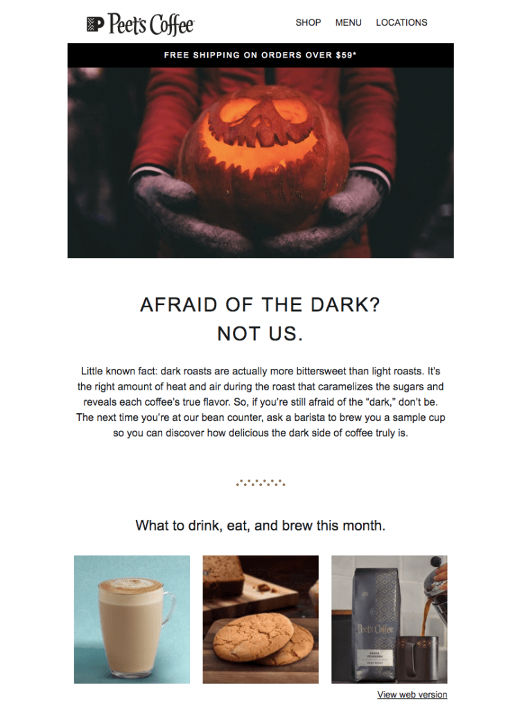 peets coffee halloween email example