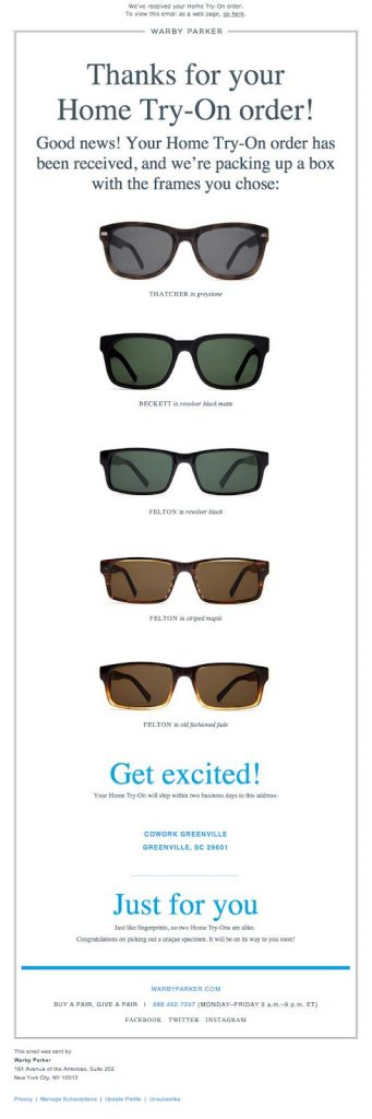 Warby Parker retention email example