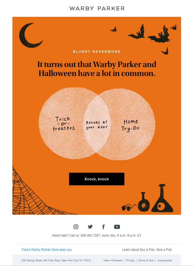 warby parker halloween email