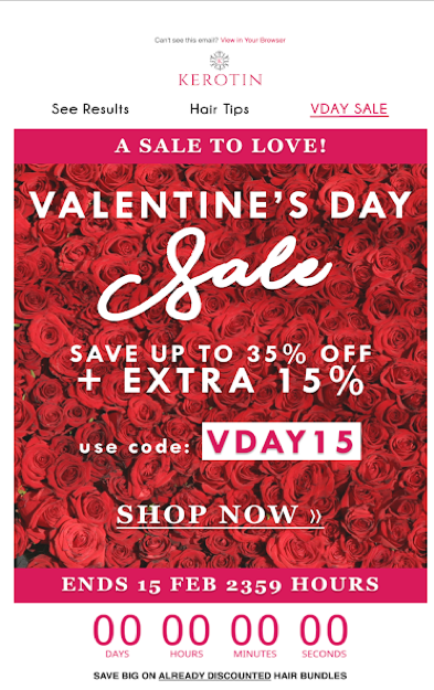 email sample for Valentines Day
