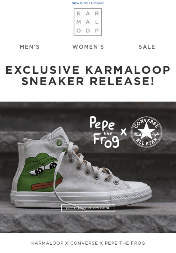 White sneaker shoe with Pepe the Frog's face on the upper part of the shoe heel.