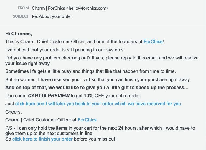 Cart recovery email sample from Forchics
