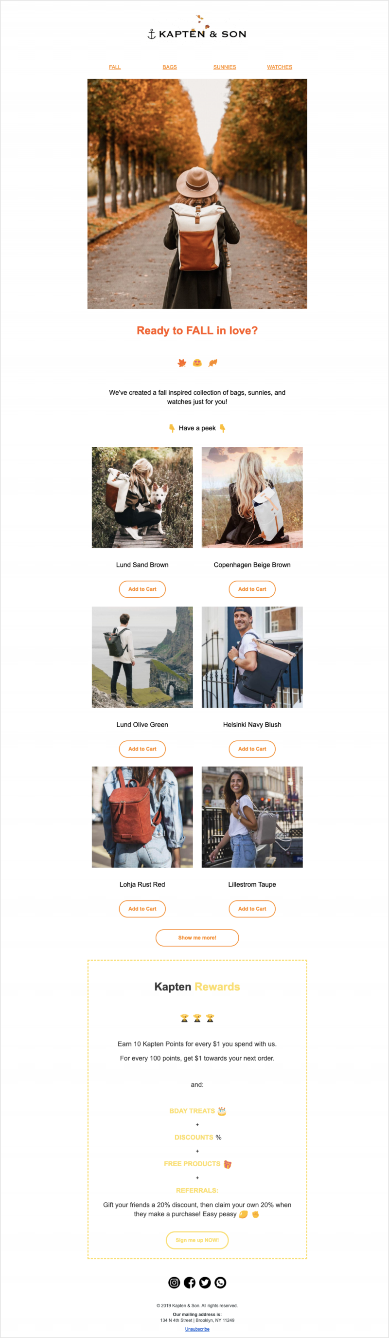 Newsletter sample featuring Fall season accessories