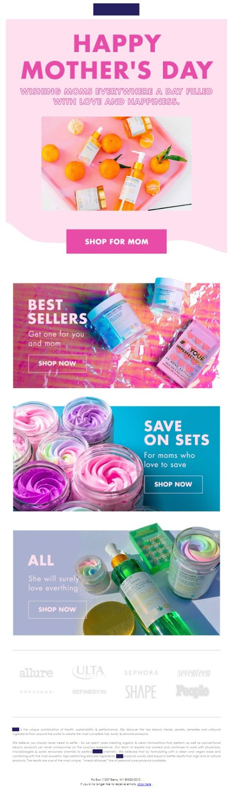 Mother's Day emails with highlighted bundles