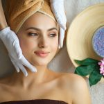 smiling lady getting skin care