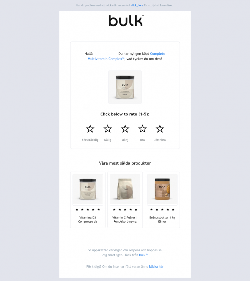 Post-purchase email from Bulk with a feedback form