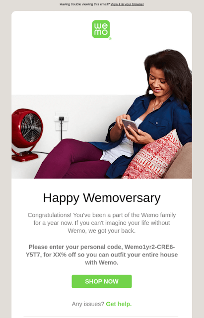 Happy Anniversary email from Wemo