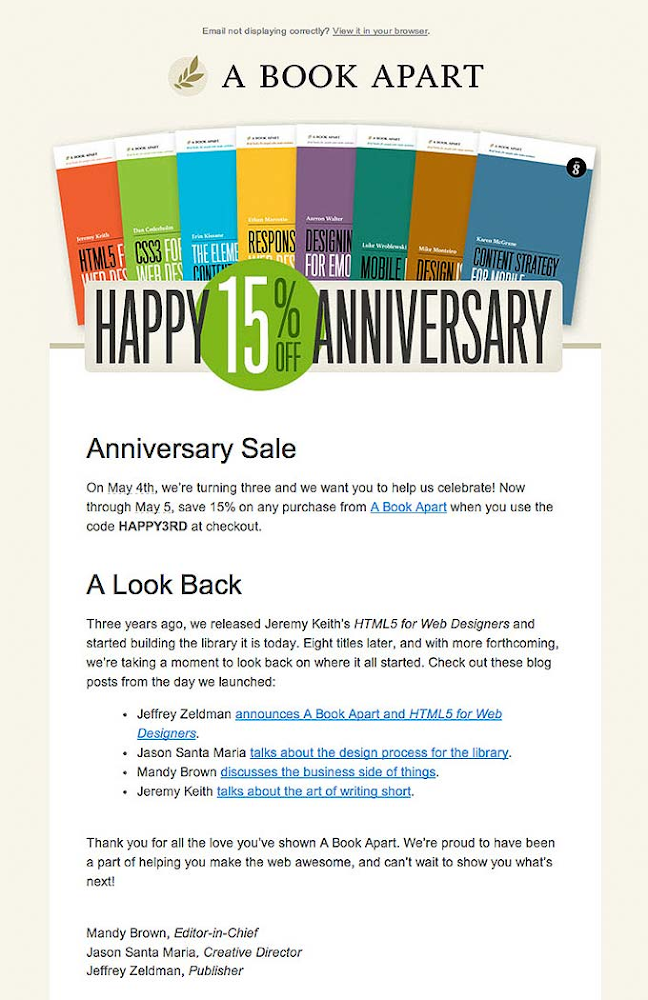 Happy Anniversary email from A Book Apart