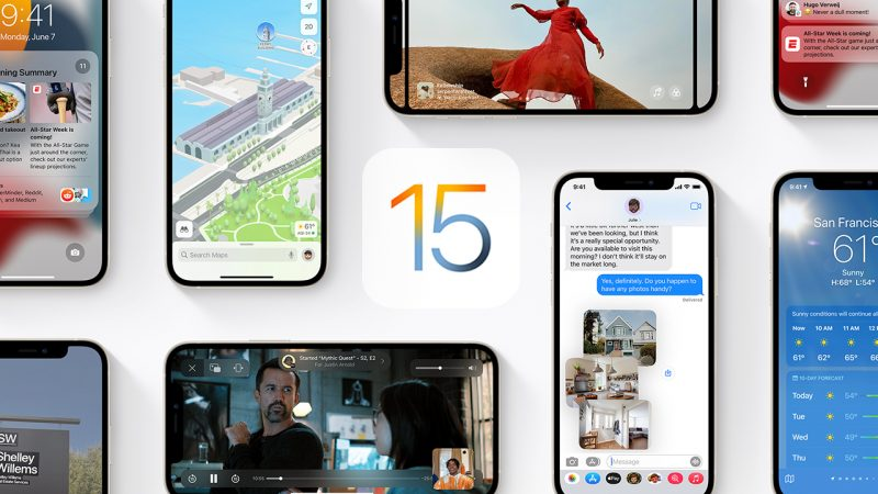 """Collage of iPhone screens and a big number """"15"""" in the center"""