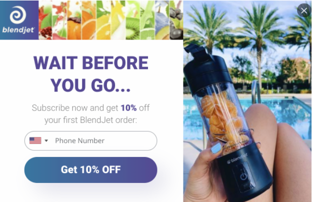 email pop up with striking product photo